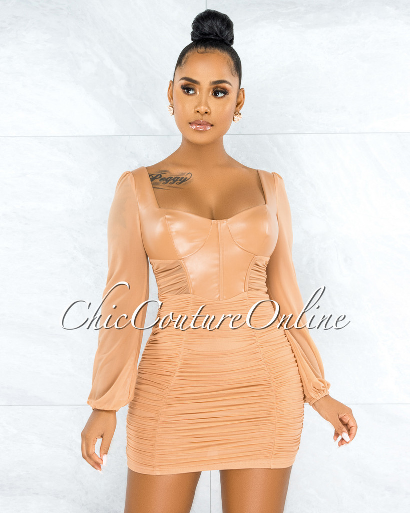 Benigna Nude Faux Leather Ruched Mesh Mini Dress