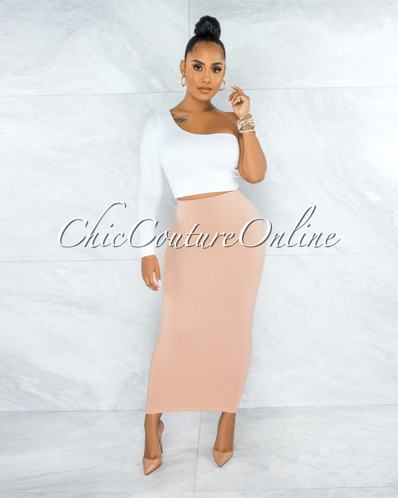 Doneva Nude Double Lined Pencil Maxi Skirt