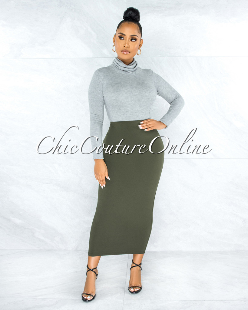 Doneva Olive Green Double Lined Pencil Maxi Skirt