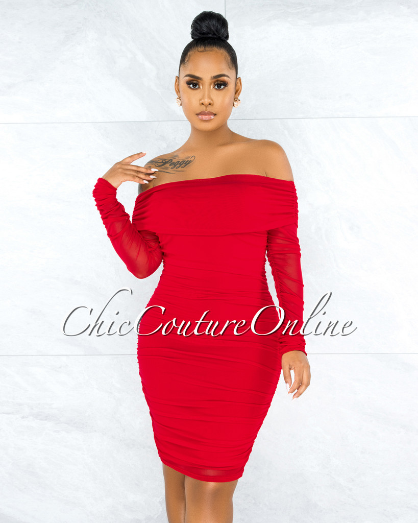 Rusalia Red Off-The Shoulder Ruched Mesh Midi Dress