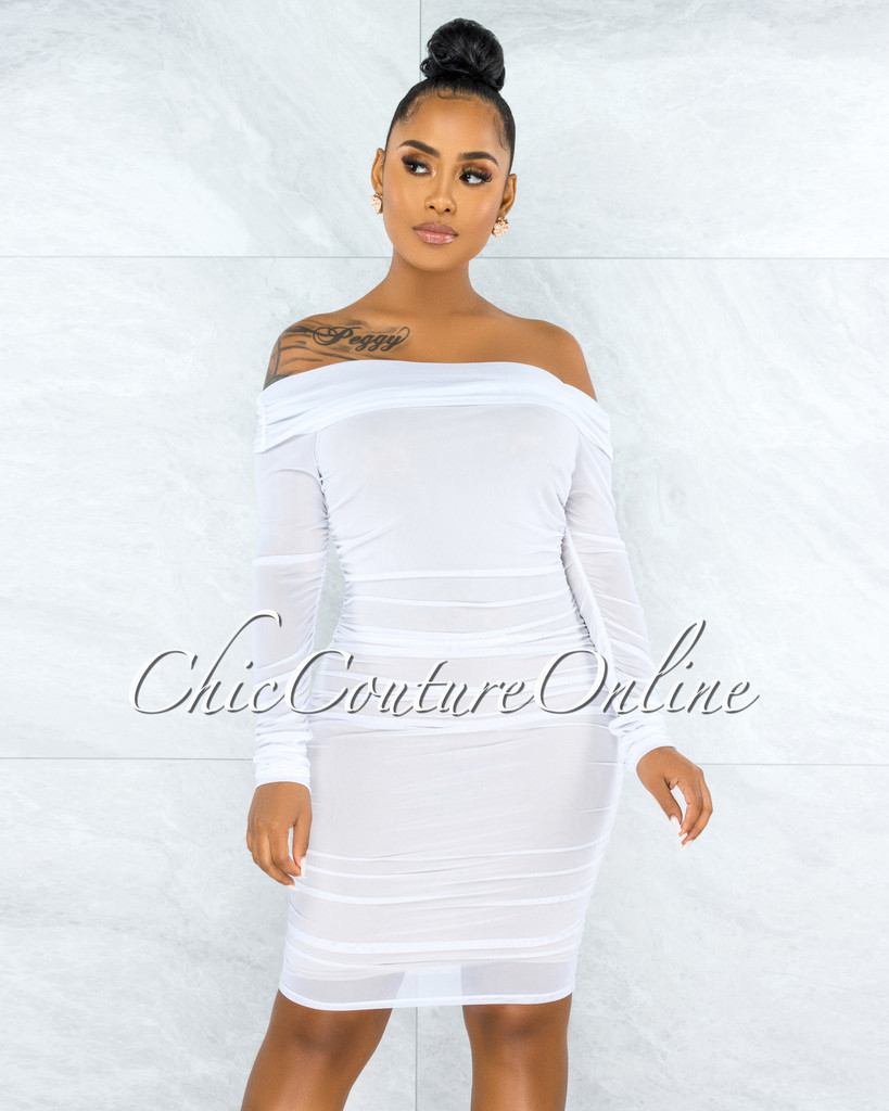 Rusalia White Off-The Shoulder Ruched Mesh Midi Dress