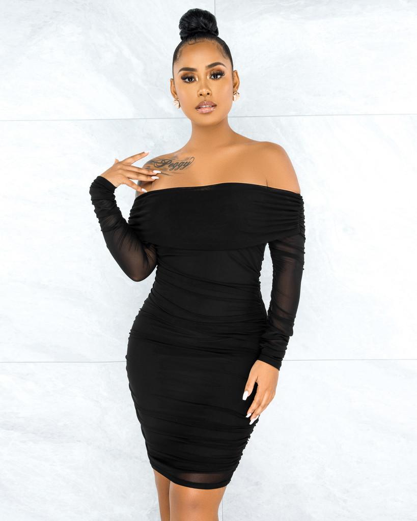 Rusalia Black Off-The Shoulder Ruched Mesh Midi Dress