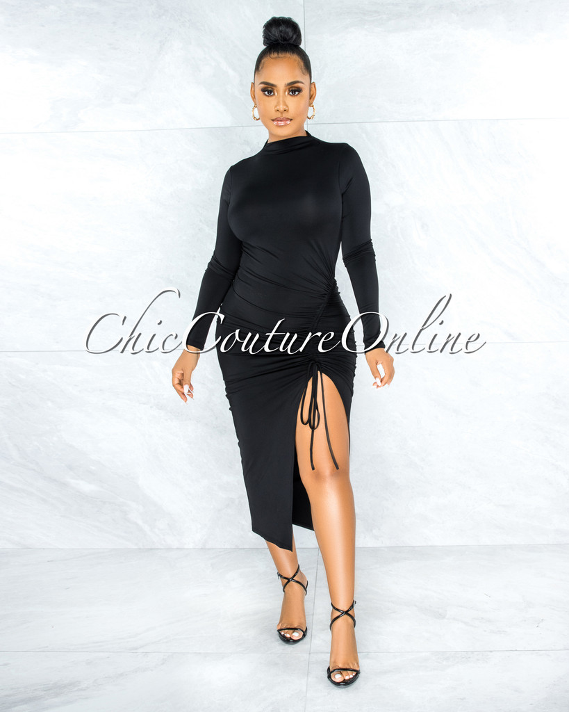 Maisara Black Ruched Side Slit Midi Dress