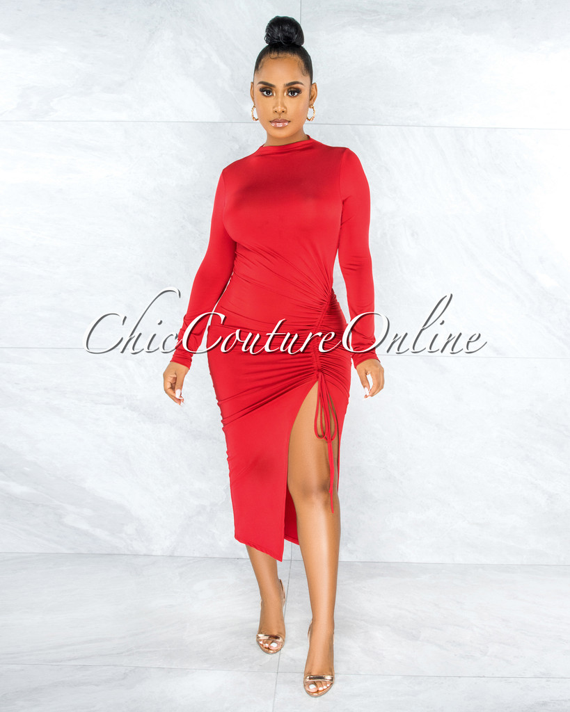 Maisara Red Ruched Side Slit Midi Dress