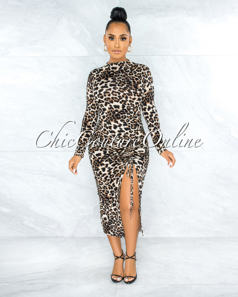 Maisara Leopard Print Ruched Side Slit Midi Dress