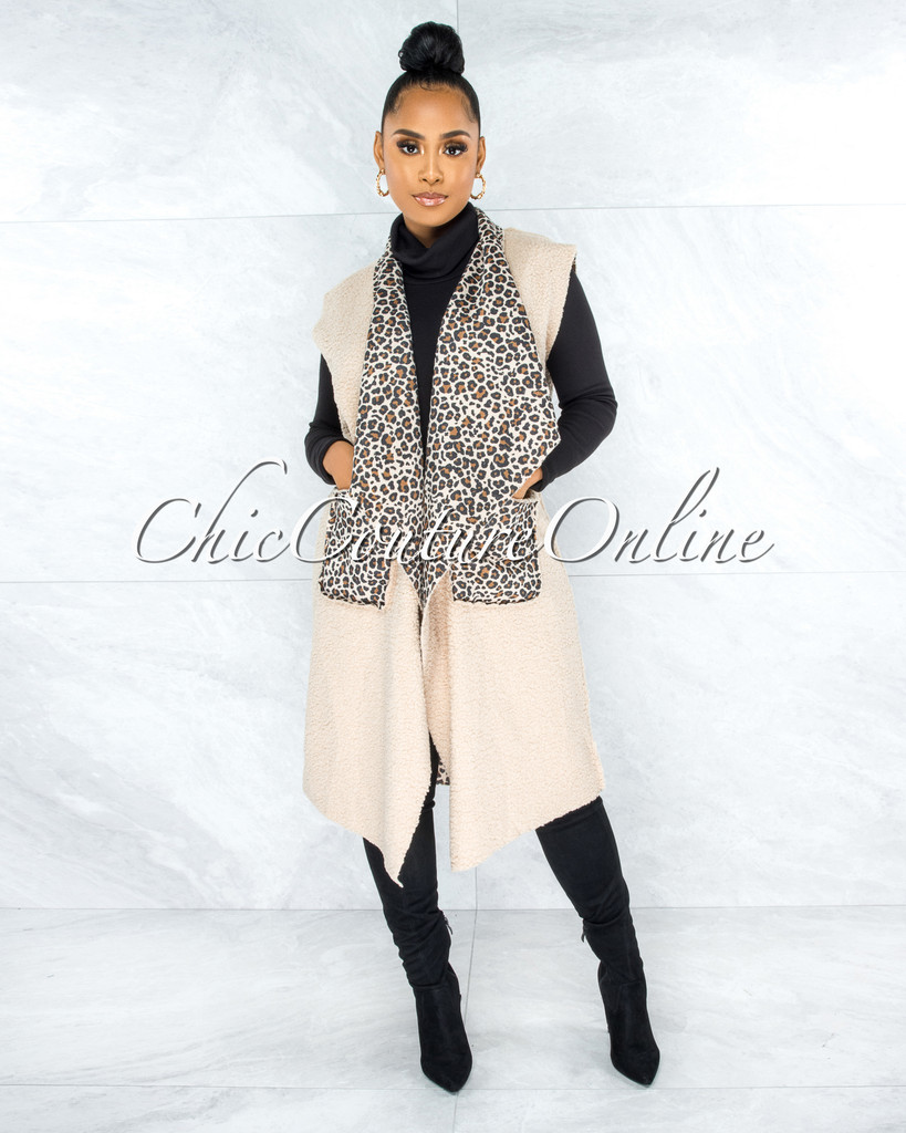Taffy Nude Faux Fur Leopard Print Black Belt Long Jacket