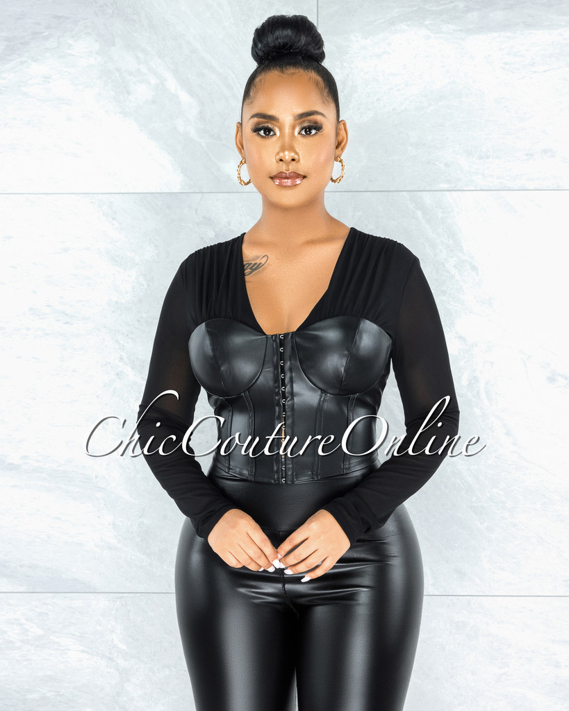 Ayele Black Corset Front Hook Closure Faux Leather Mesh Top