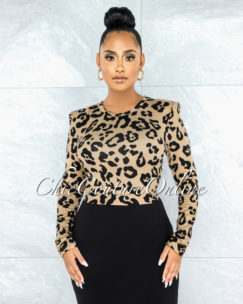 Kian Leopard Print Padded Shoulders Back Tie Top
