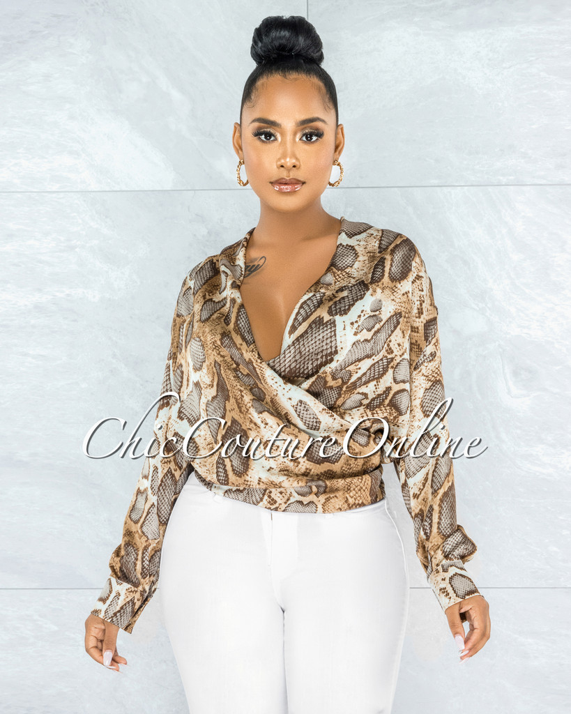 Ceara Brown Snake Print Wrap Blouse