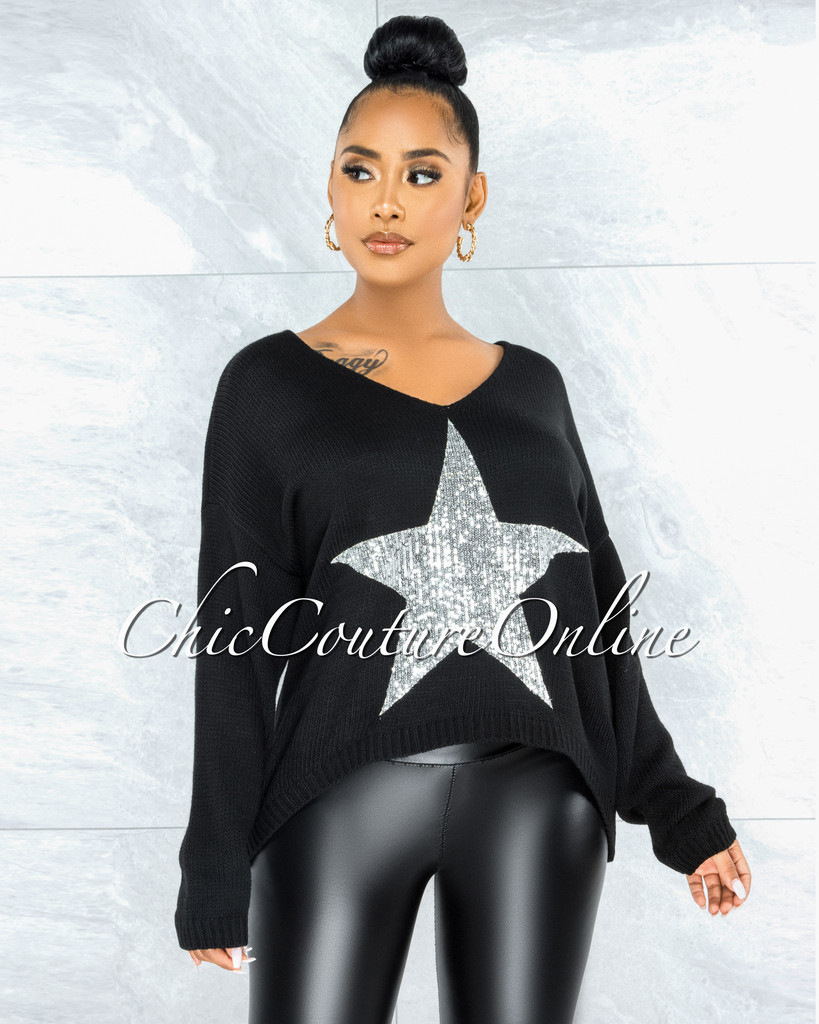 Narda Black Front Silver Sequins Star Knit Sweater