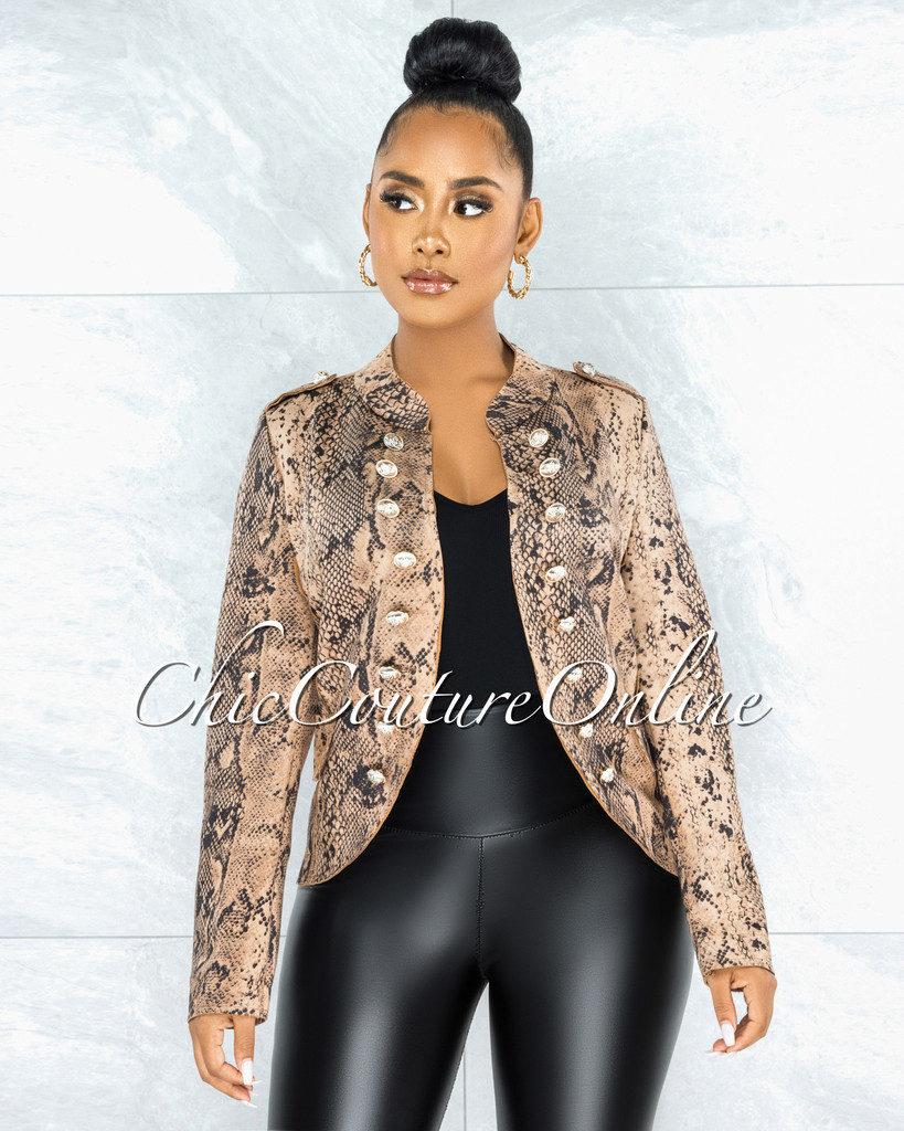 Vafara Brown Black Snake Print Gold Buttons Faux Suede Jacket