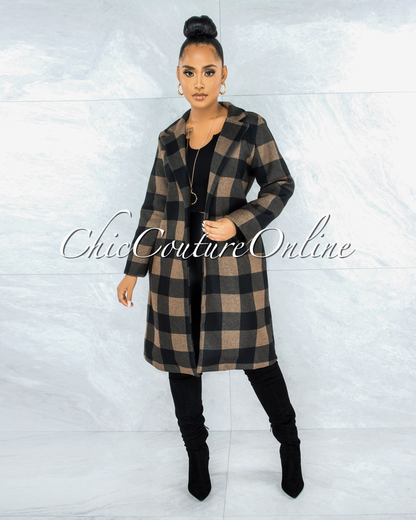 Unice Brown Black Plaid Double Breast Coat
