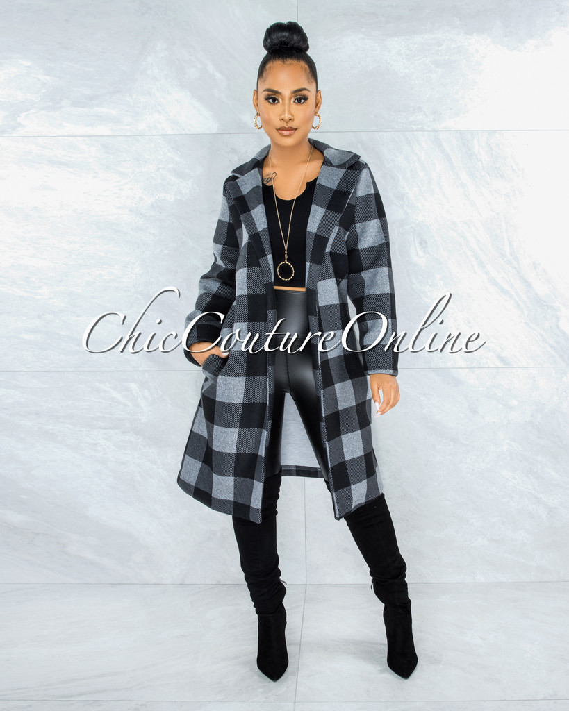 Unice Grey Black Plaid Double Breast Coat