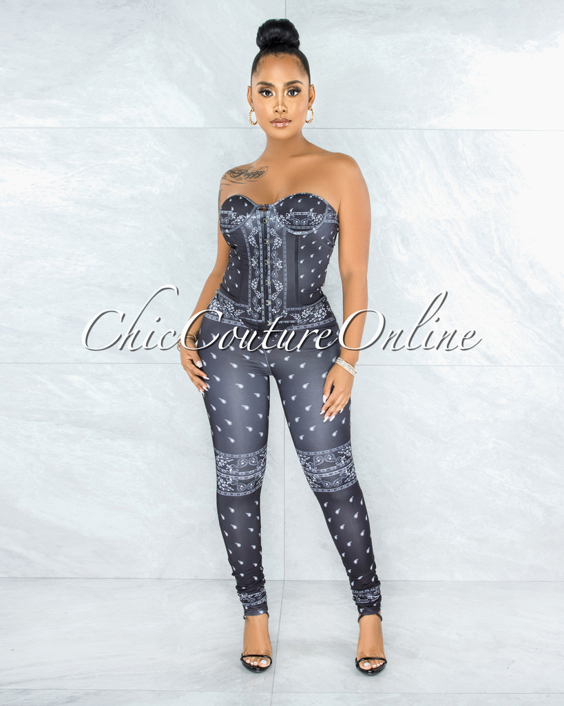 Monita Black Paisley Print Corse Top & Leggings Set