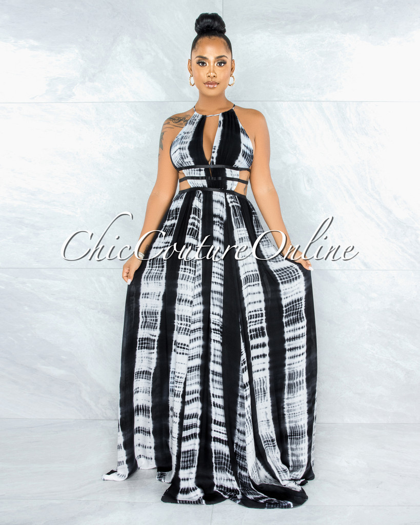 Gorry Black White Tie-Dye Cut Out Maxi Dress