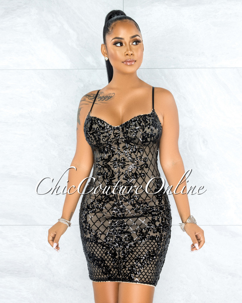 Espara Black Sequins Nude Illusion Padded Cups Dress