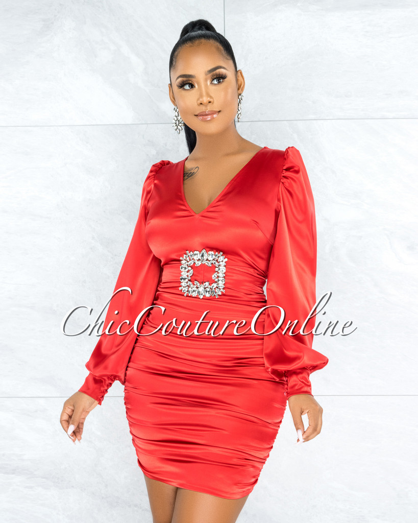Emory Red Satin Silver Rhinestones Dramatic Buckle Dress