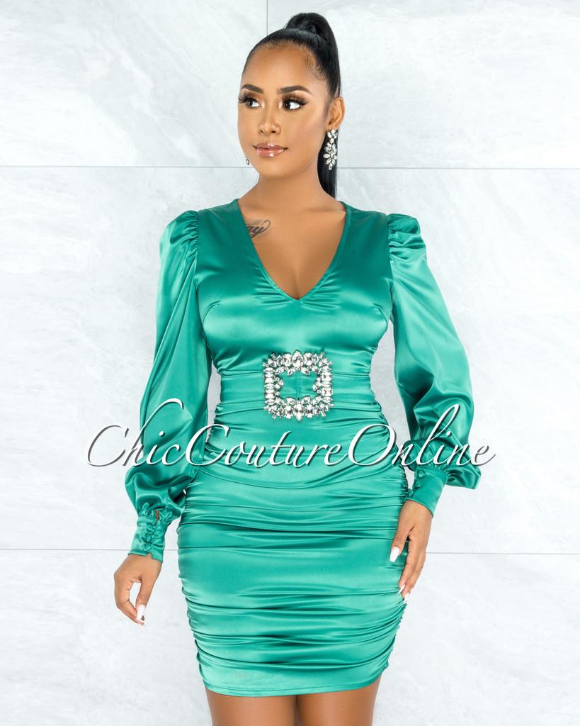 Emory Green Satin Silver Rhinestones Dramatic Buckle Dress