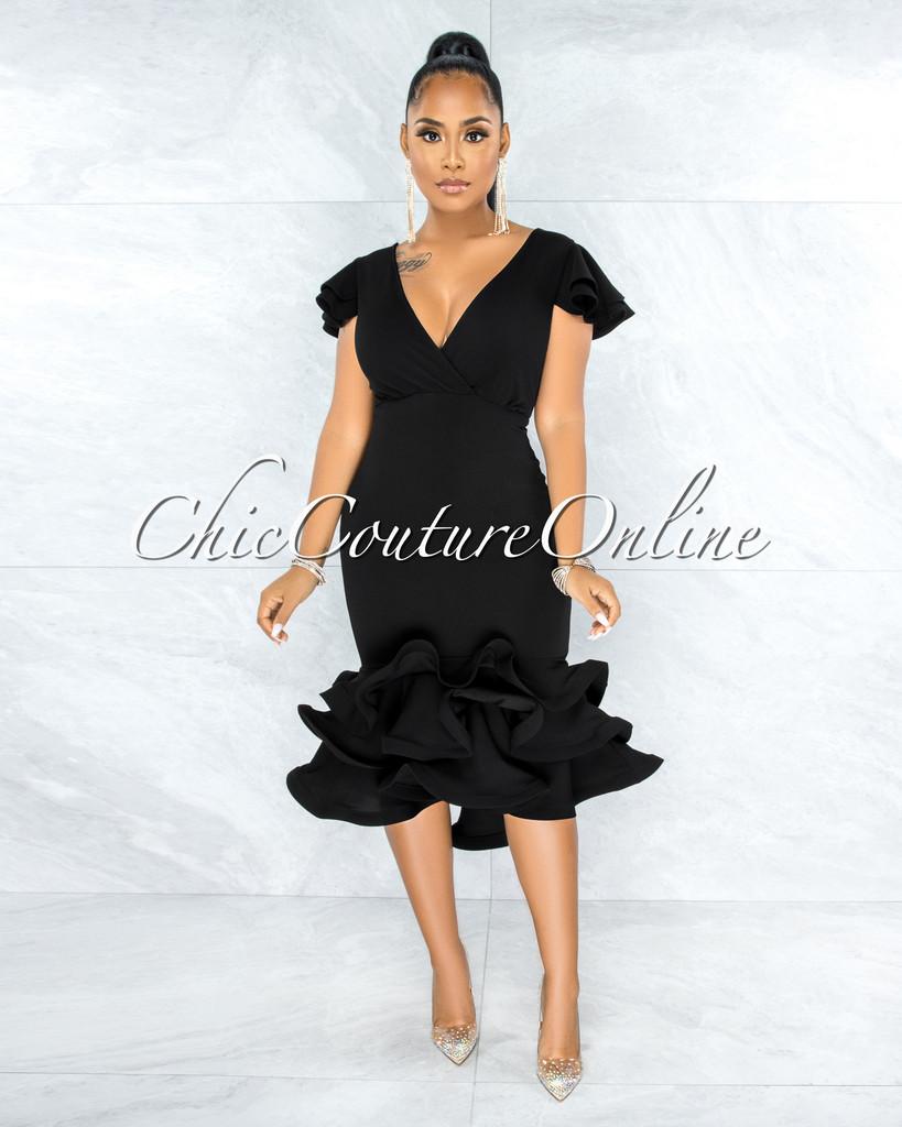 Charnelle Black Dramatic Ruffle Hem Dress