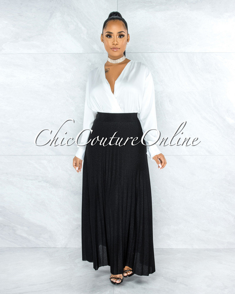 Barilla Black Shimmer Pleated Maxi Skirt