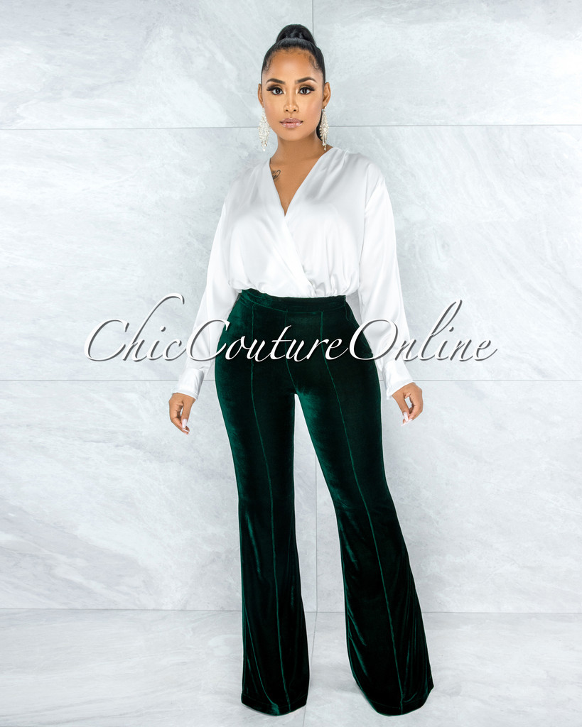Belize Hunter Green Velvet Palazzo Pants
