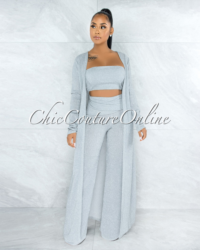 Mirada Silver Shimmer Duster Pants Three Piece Set