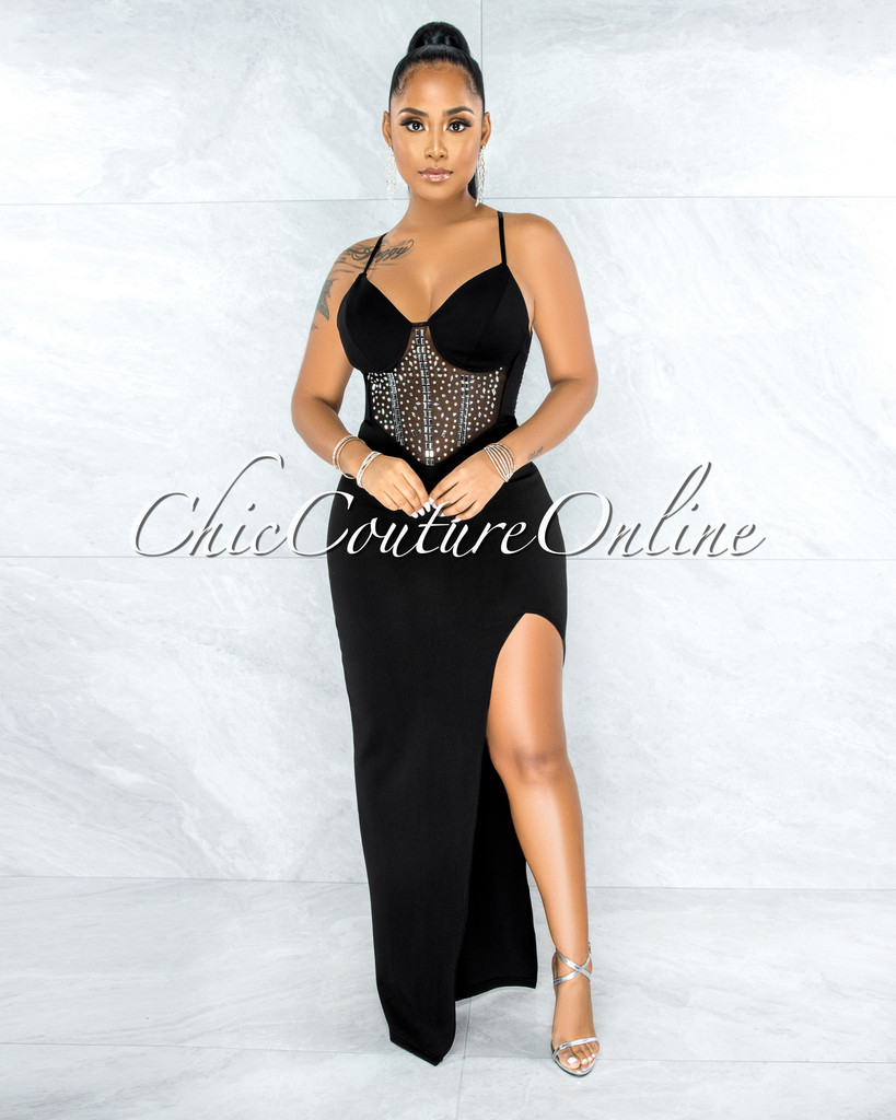 Michaela Black Mesh Rhinestones Applique Slit Maxi Dress