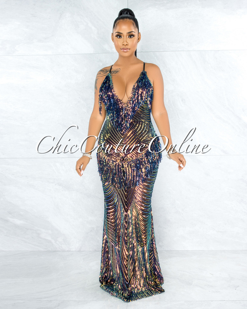 Cammy Black Iridescent Sequins Fringe Maxi Gown
