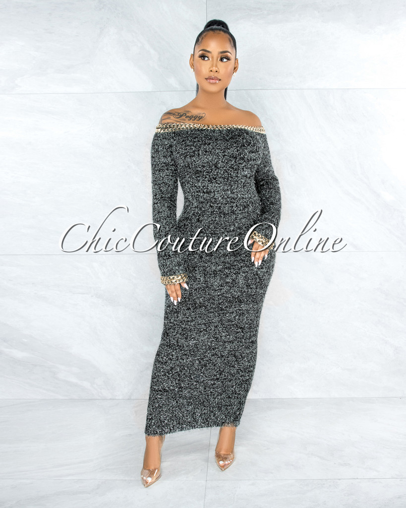 Lotus Black Silver Fur Golden Link Maxi Dress