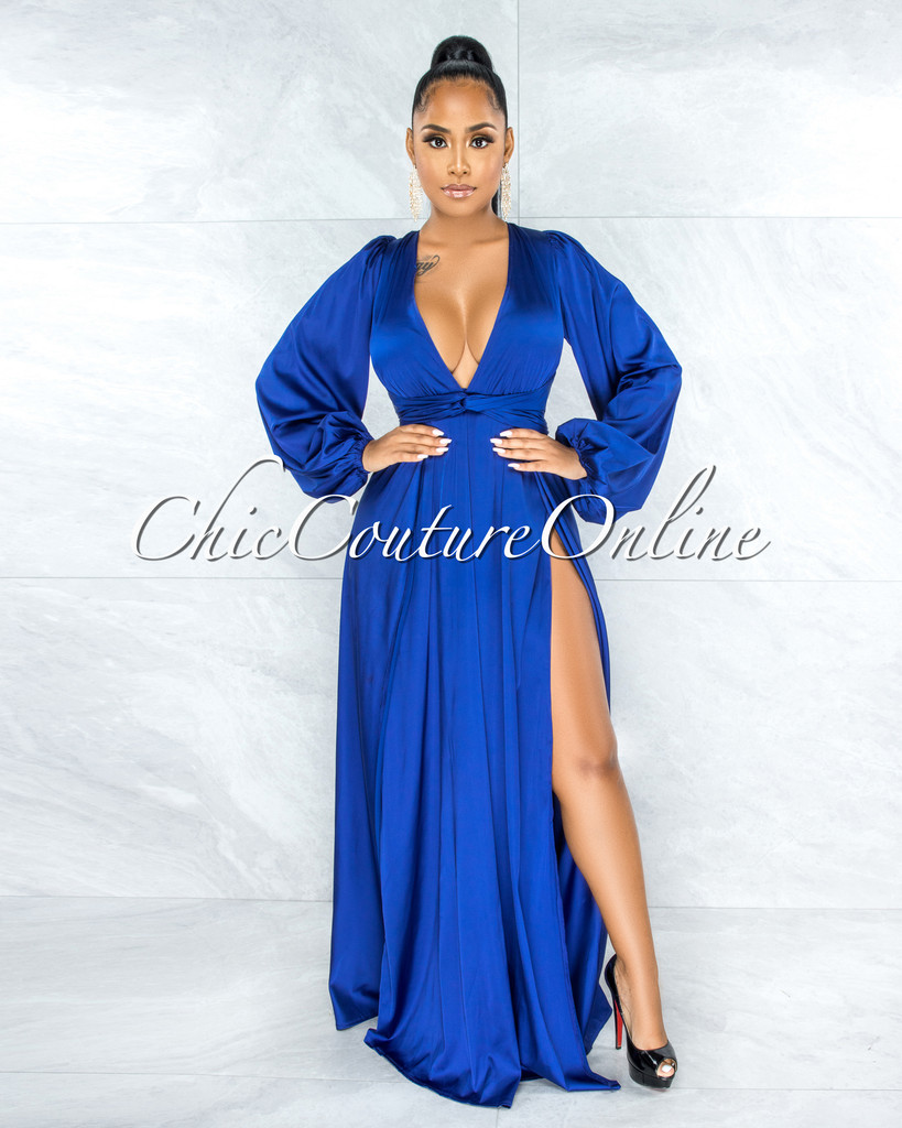 Dorion Royal Blue Dramatic Double Slit Silky Maxi Dress
