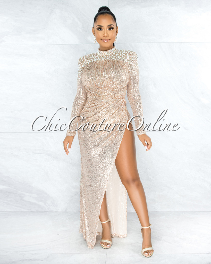 Zeljka Nude Mesh Rose Gold Sequins Pearl Accent Draped Bodysuit Dress