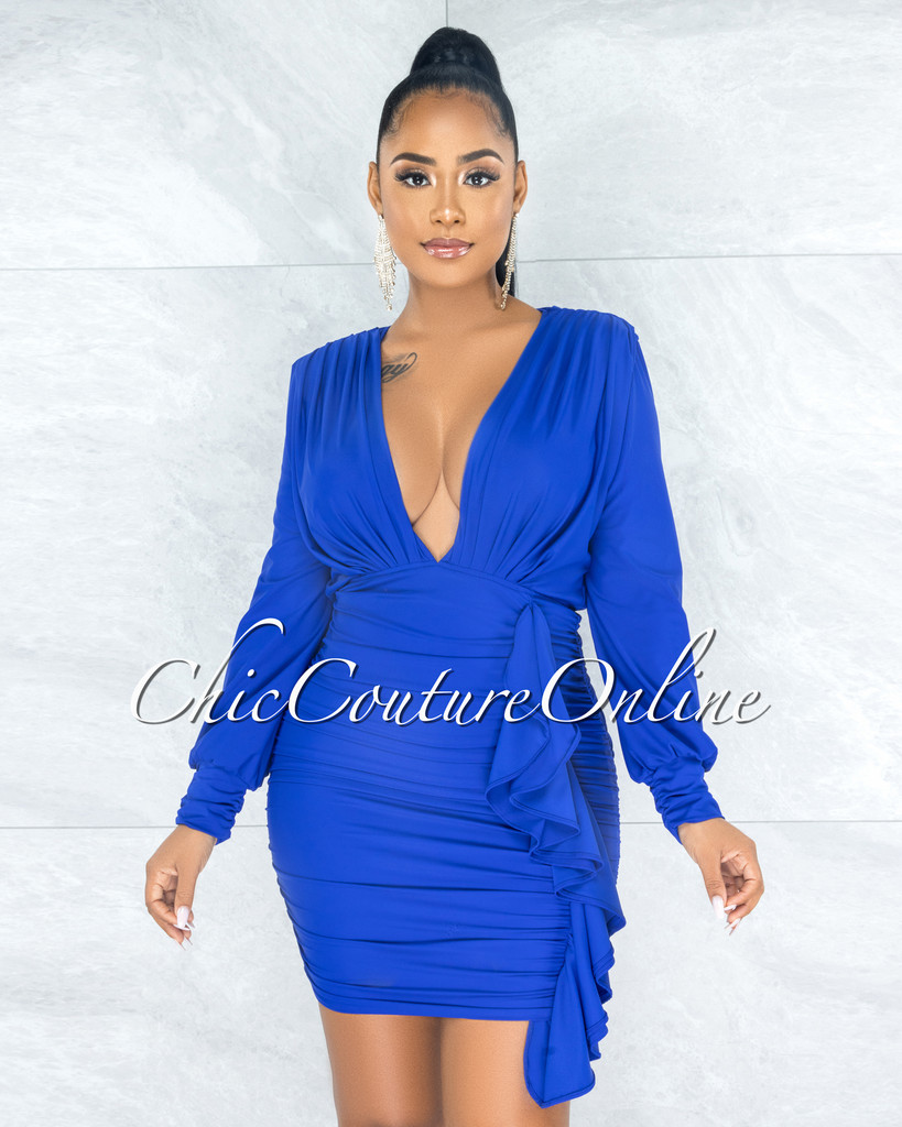 Jaddua Royal Blue Plunging V-Neck Draped Ruffle Dress