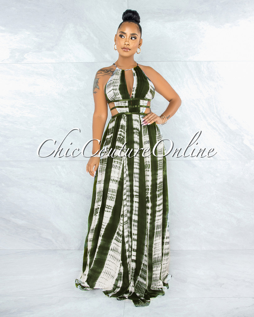 Gorry Olive Green White Tie-Dye Cut Out Maxi Dress