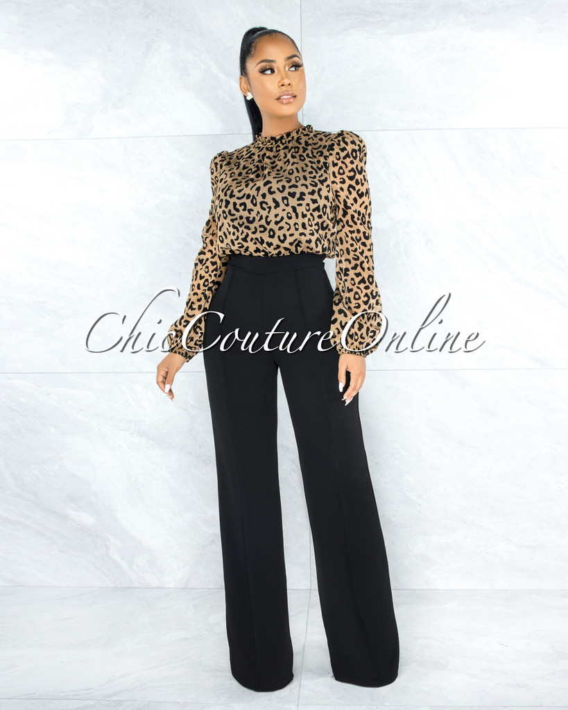 Shreya Leopard Print Top Black Bottom Two-Tone Jumpsuit