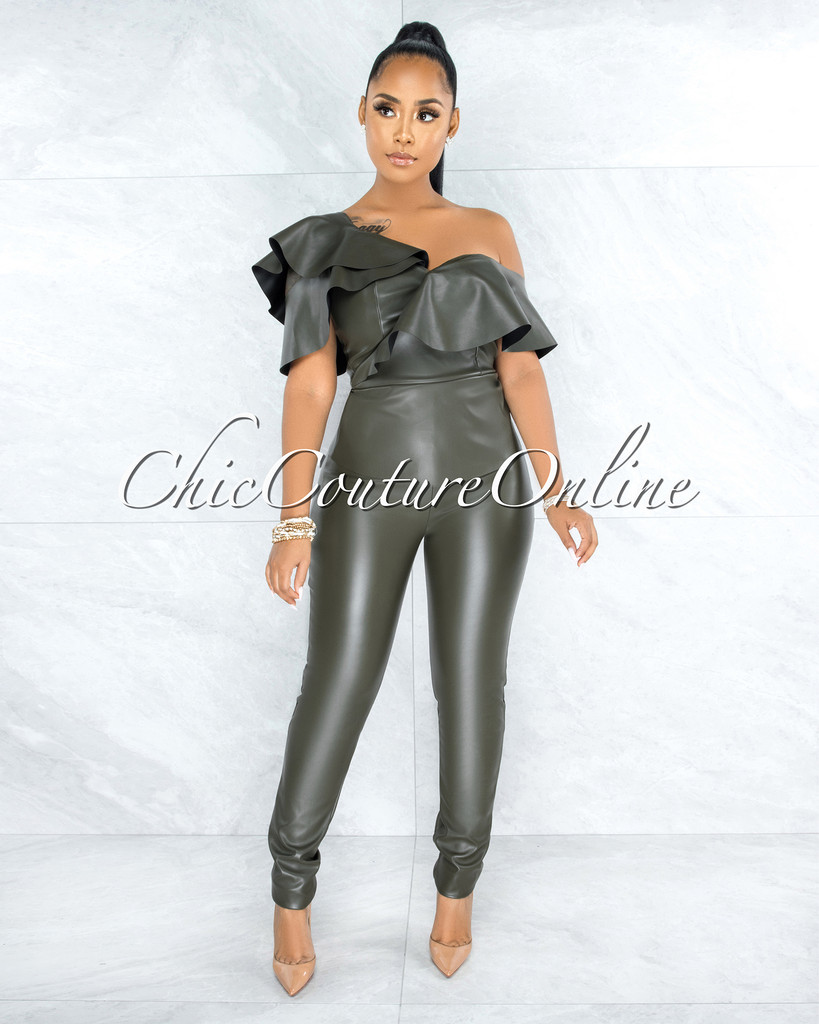 Doire Olive Green Faux Leather Ruffle Sleeves Two Piece Set