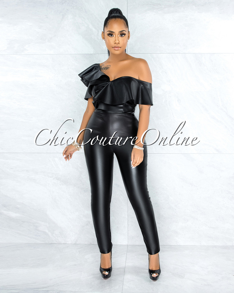 Doire Black Faux Leather Ruffle Sleeves Two Piece Set