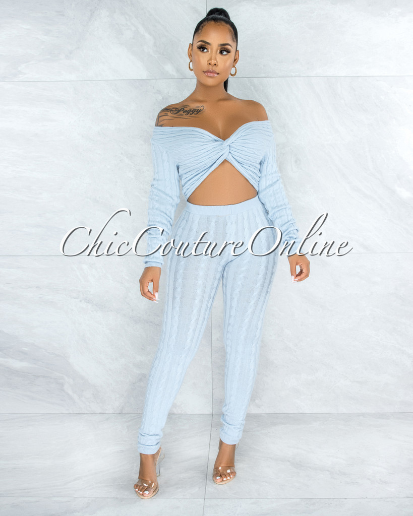Azuba Baby Blue Cable Knit Knotted Top & Leggings Set