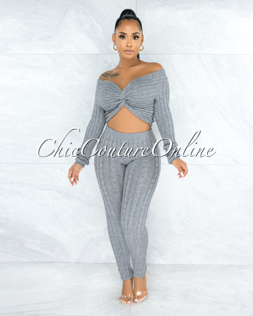 Azuba Grey Cable Knit Knotted Top & Leggings Set