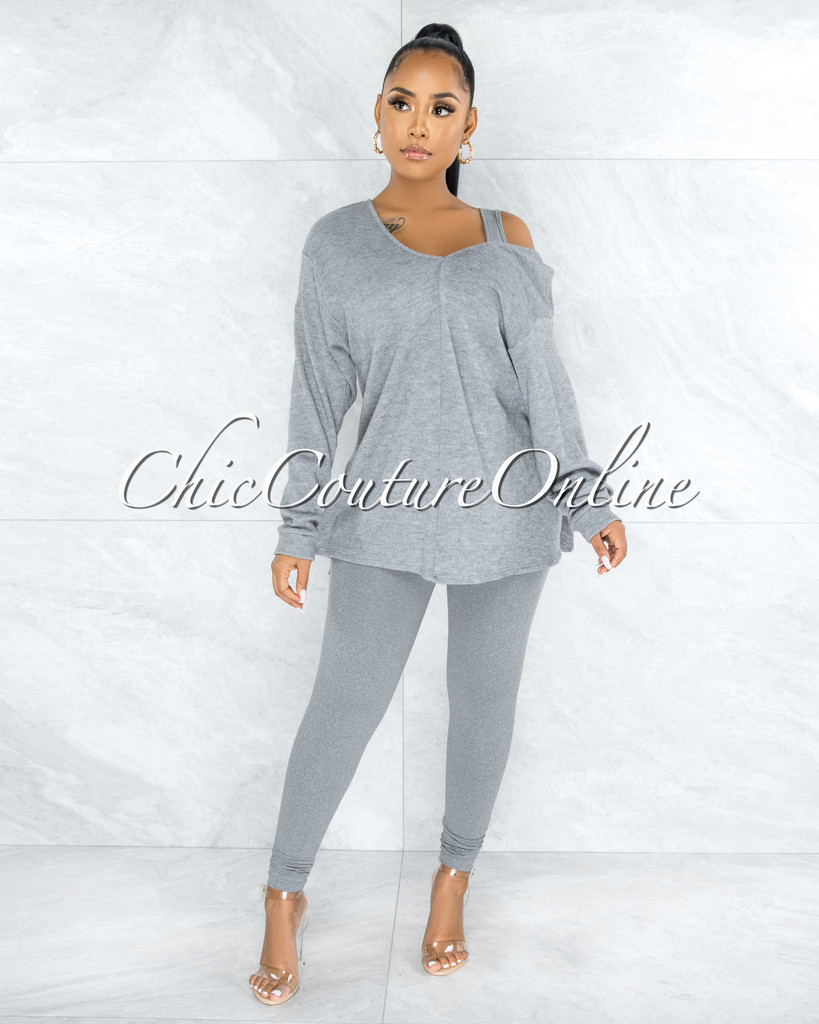 Thirza Grey Knit Sweater  Top & Leggings Three Piece Set