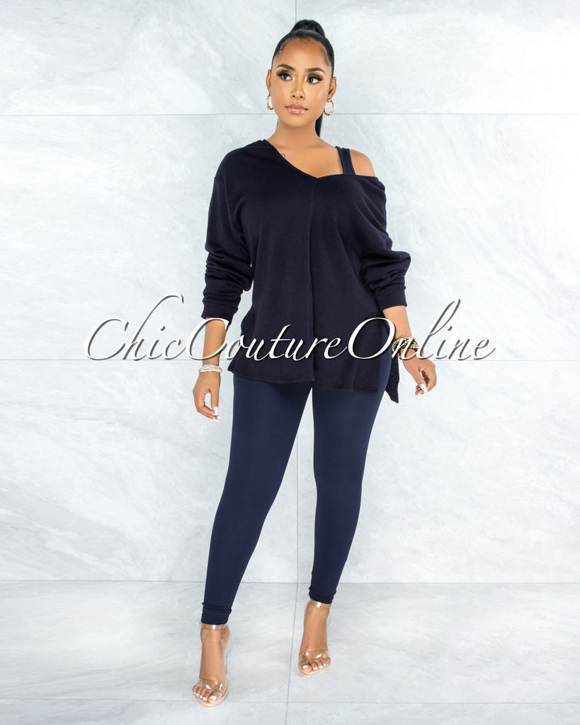 Thirza Navy Blue Knit Sweater Top & Leggings Three Piece Set