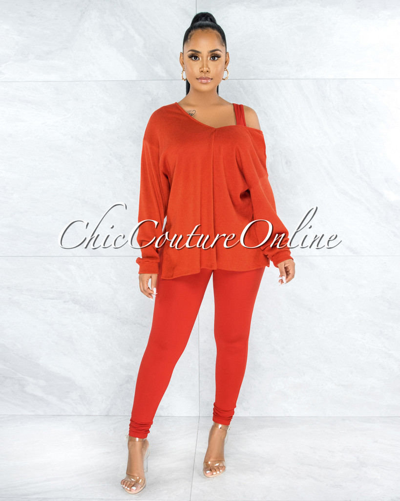 Thirza Orange Knit Sweater Top & Leggings Three Piece Set