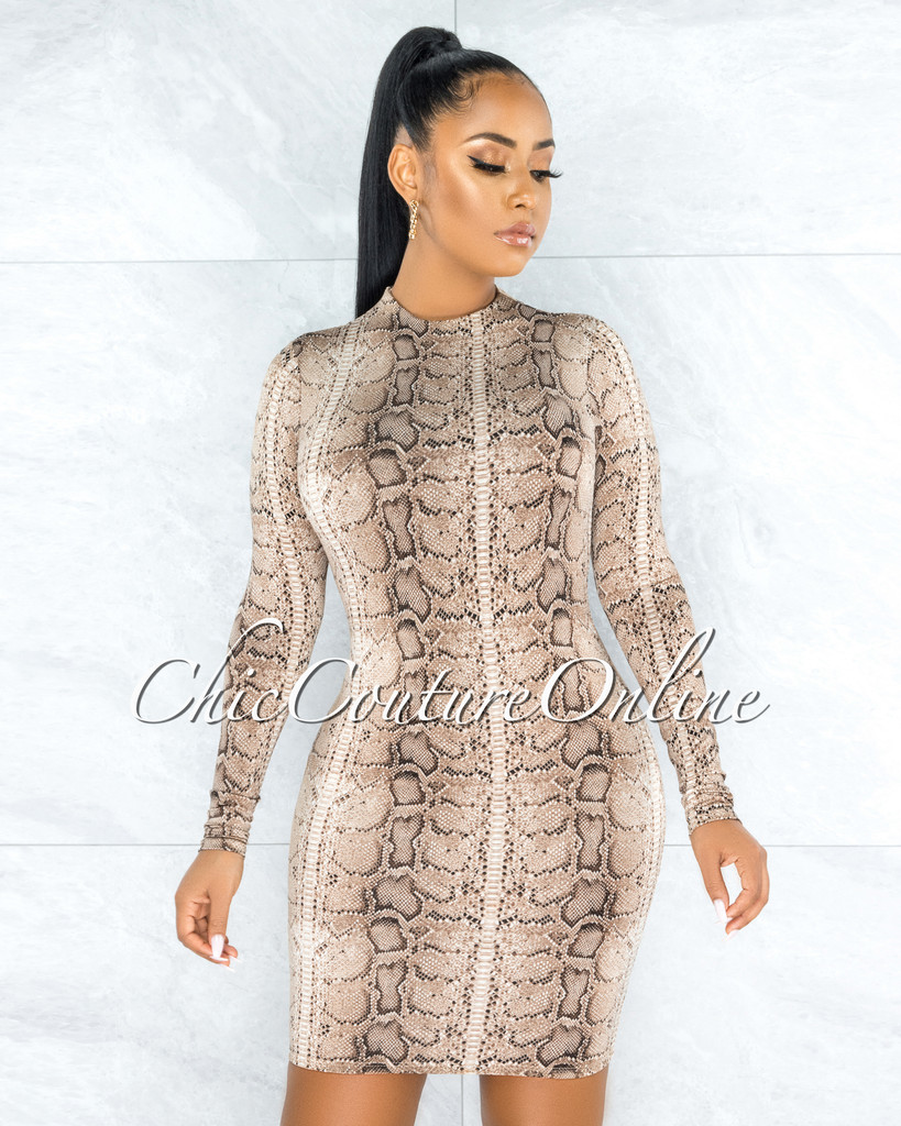 Cwen Brown Snake Pint Fitted Long Sleeves Dress