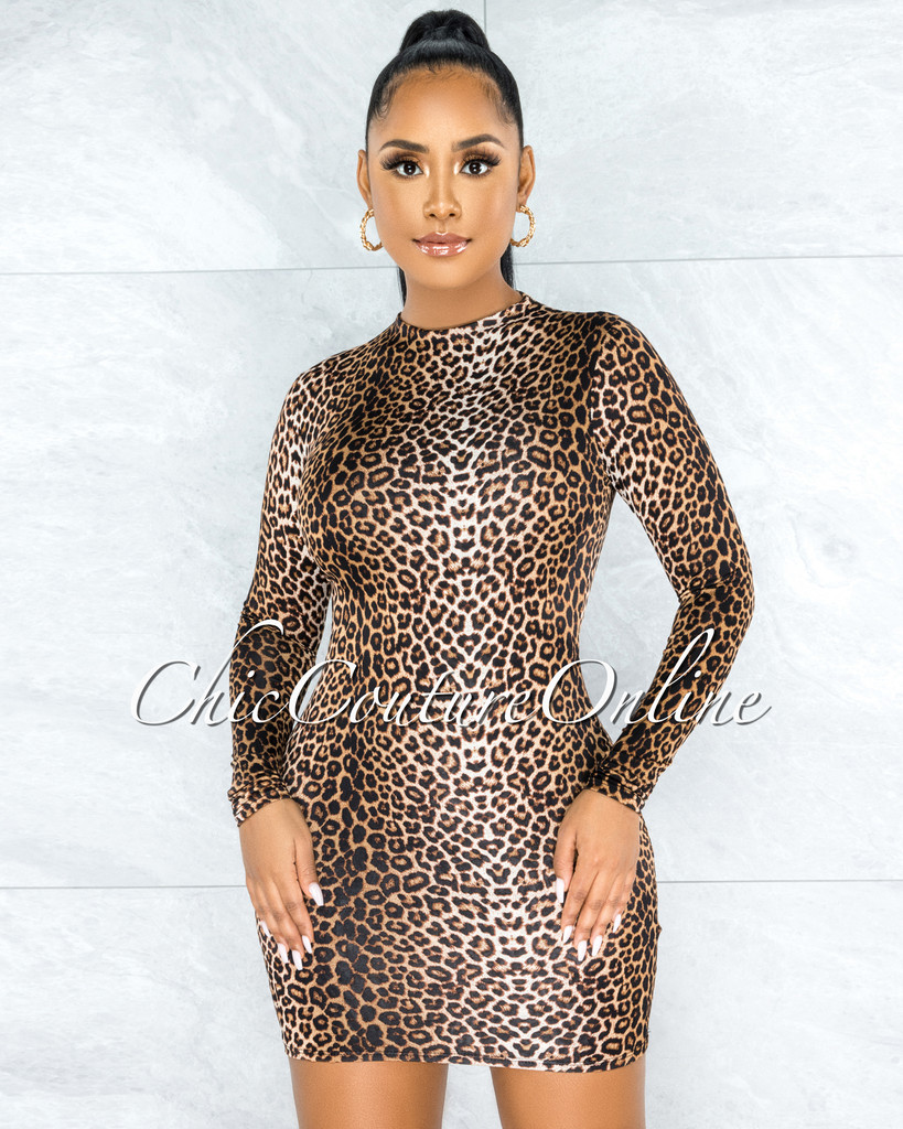Cwen Leopard Pint Fitted Long Sleeves Dress