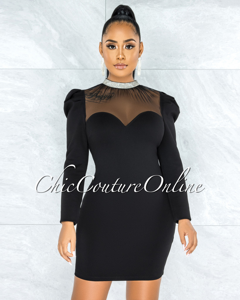 Carmona Black Rhinestones Tulle Neckline Dress