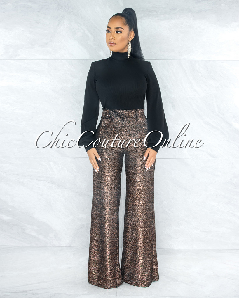 Dalena Black Rose Gold Shimmer Tie Belt Palazzo Pants