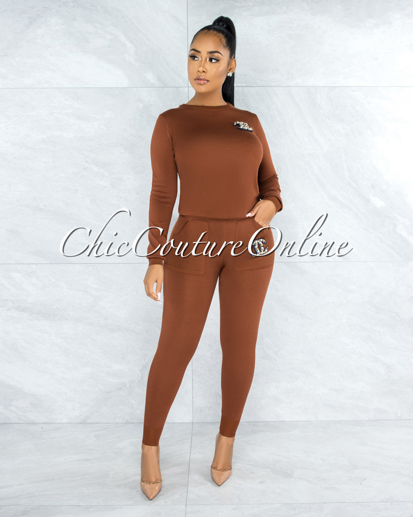 Novelli Rust Knit Pearl Embellishment Jogger Shirt Set