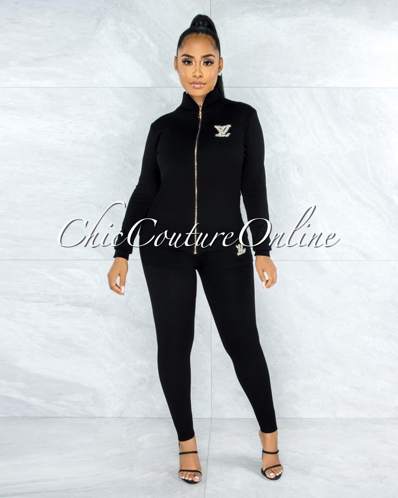 Devora Black Knit Pearl Embellishment Jogger Jacket Set