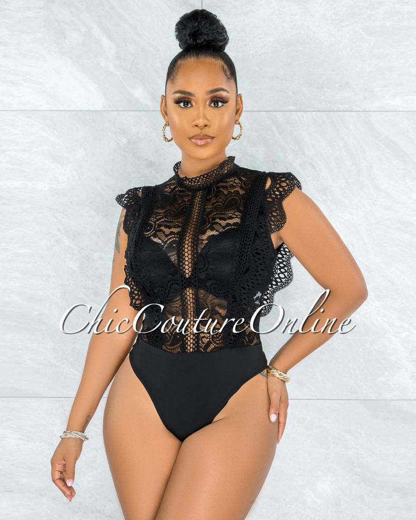 Dayra Black Lace See-Through Crochet Details Bodysuit