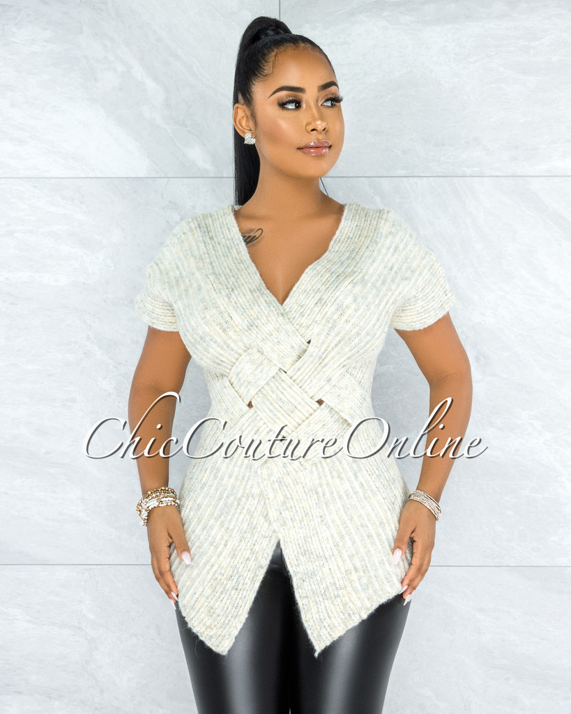 Kineta Ivory Knit Wrap Lattice Top