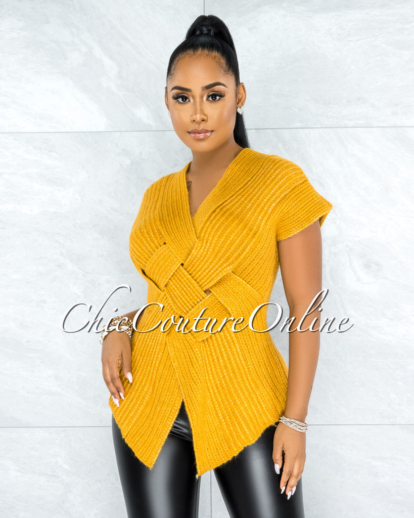 Kineta Mustard Yellow Knit Wrap Lattice Top
